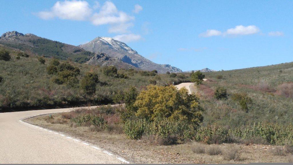 El Pico Ocejón visto desde la carretera de acceso a Valverde de los Arroyos