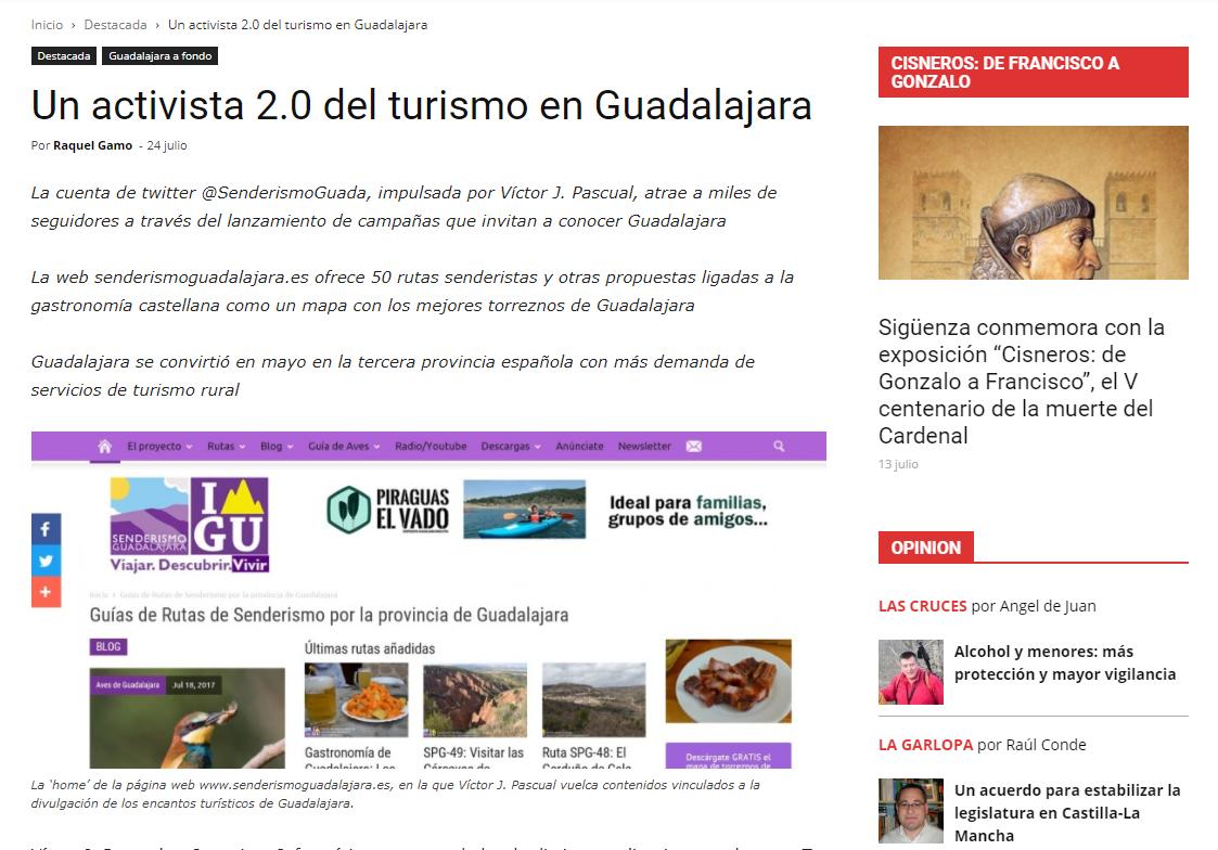 Reportaje en Henaresaldia.com: «Un activista 2.0 del turismo en Guadalajara» por @gamopascual