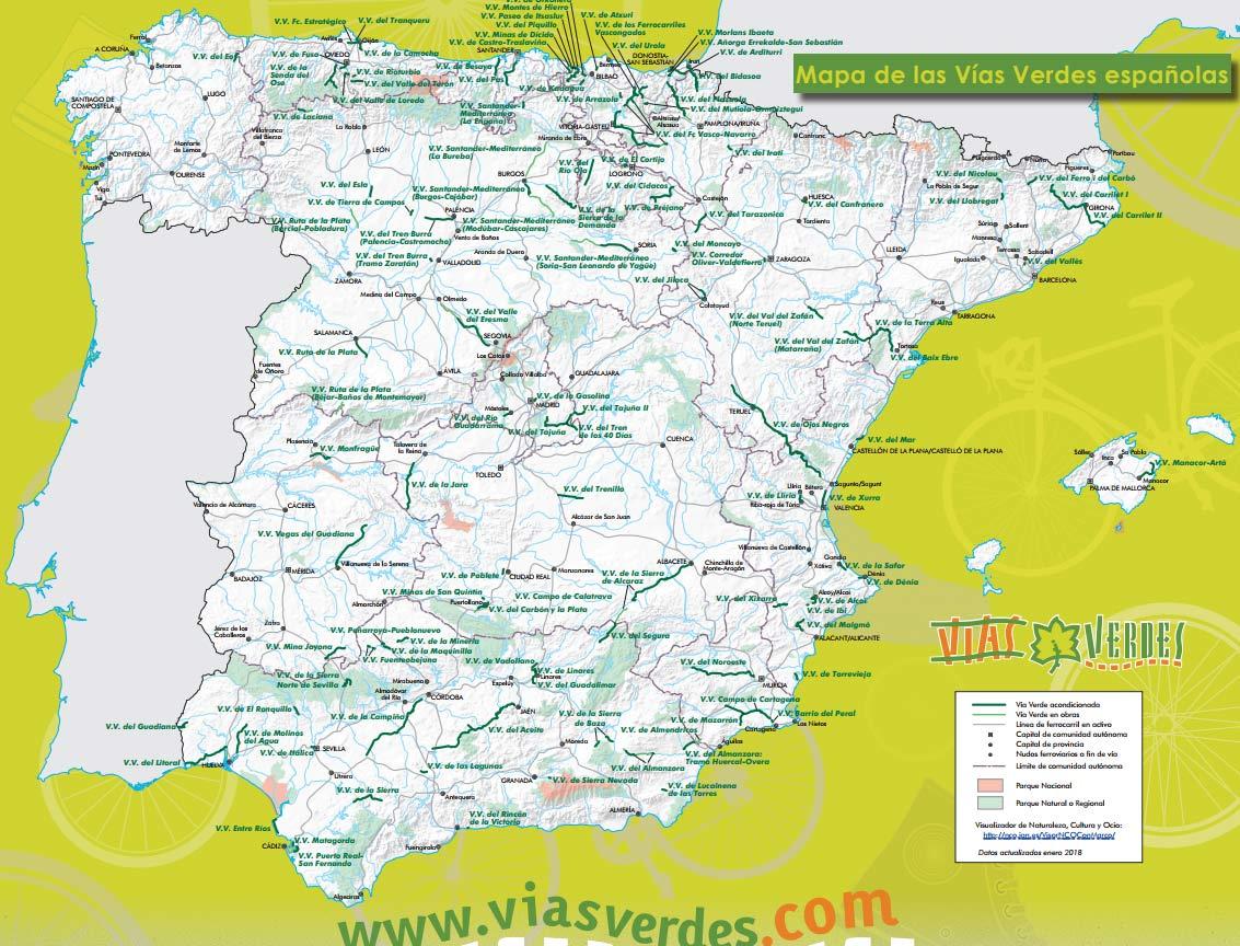 Las Vías Verdes han actualizado su mapa de rutas