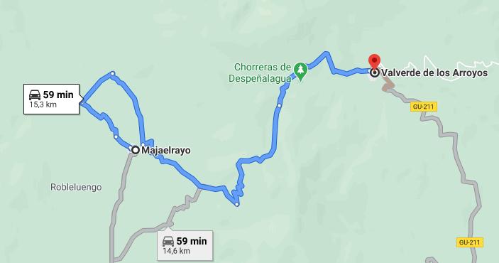 Google Maps se ha inventado una carretera inexistente entre Majaelrayo y Valverde de los Arroyos